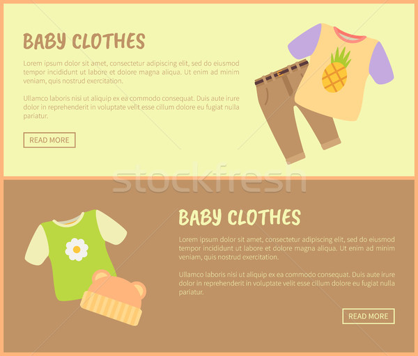 Bebê roupa texto amostra conjunto manchetes Foto stock © robuart