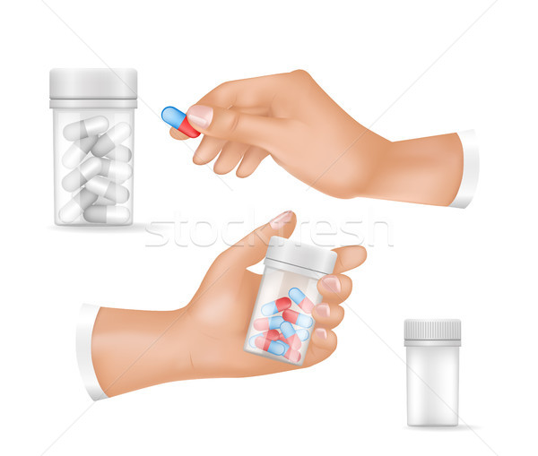 Medicines in Small Plastic Bottles and Human Hands Stock photo © robuart