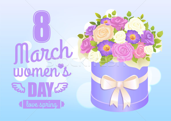 8 March Womens Day Poster with Bouquet of Rose Stock photo © robuart