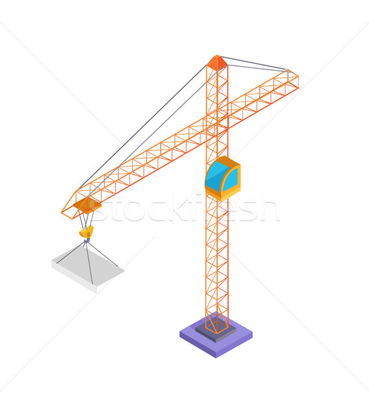 Building Crane and Slab Poster Vector Illustration Stock photo © robuart