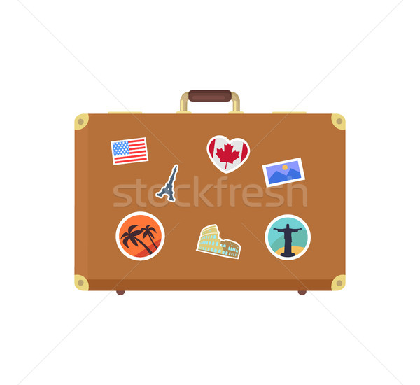 Closed Leather Vintage Suitcase Decorative Memory Stock photo © robuart