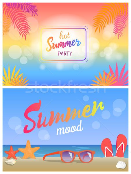 Caldo estate party ora legale stato d'animo poster Foto d'archivio © robuart