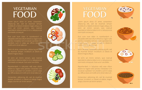 Vegetarian Food, Vector Banner, Icons Collection Stock photo © robuart