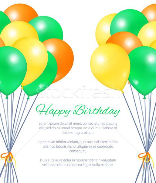 Happy Birthday Postcard Balloons Bundles for Party Stock photo © robuart