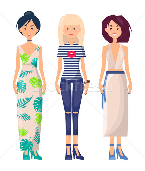 Three Casual Girls in Different Summer Clothing Stock photo © robuart