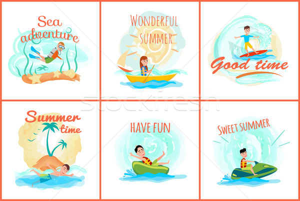 Sea Adventure and Summer Set Vector Illustration Stock photo © robuart
