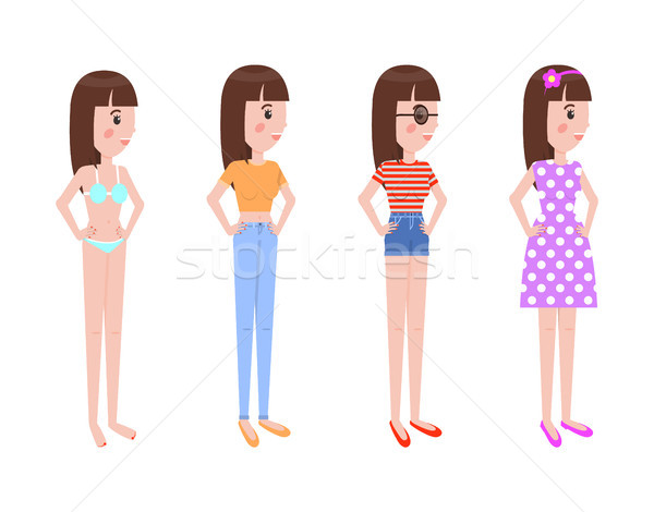 Young Girl in Summer Clothes Stands in Profile Set Stock photo © robuart