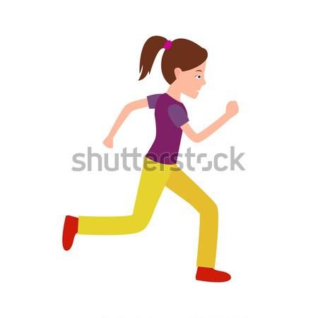 Girl Jogging Vector Teenager in Sport Apparel Stock photo © robuart