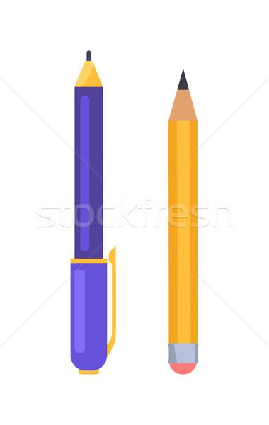 Stock fotó: Toll · ceruza · ikonok · izolált · fehér · éles