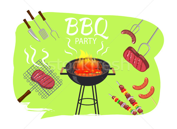 Barbecue Party and Meal Poster Vector Illustration Stock photo © robuart