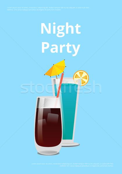 Nacht partij dranken promo poster cocktail Stockfoto © robuart