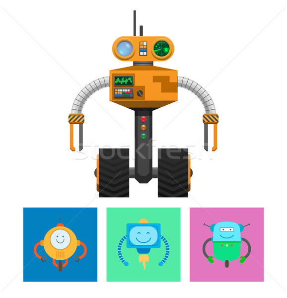 Robot with Radar and Wheels Vector Illustration Stock photo © robuart