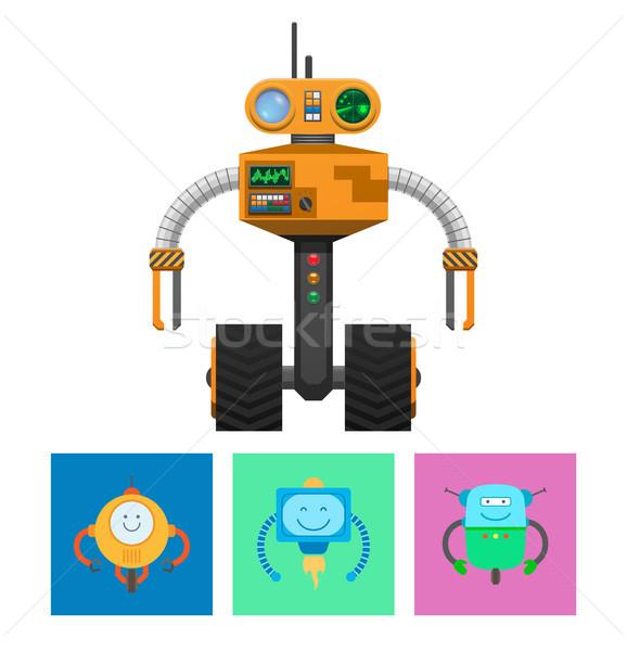 Robô radar rodas máquina emoções smiles Foto stock © robuart