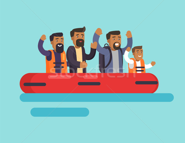 Human on Boat for Safety, Vector Illustration Stock photo © robuart