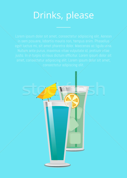 Drink Please Mojito Mint Cocktail Summer Poster Stock photo © robuart