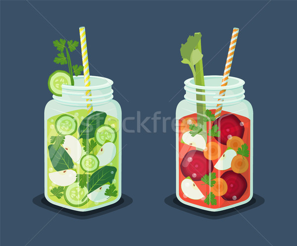 Detox Energetic Cocktails Set, Refreshing Drinks Stock photo © robuart