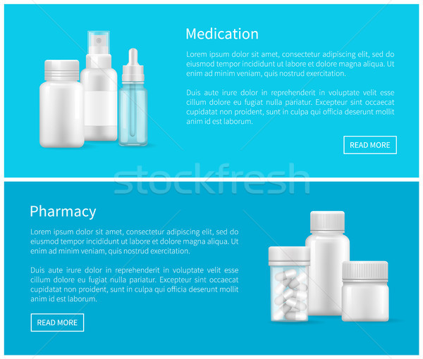 Medication and Pharmacy Set of Web Posters Bottles Stock photo © robuart