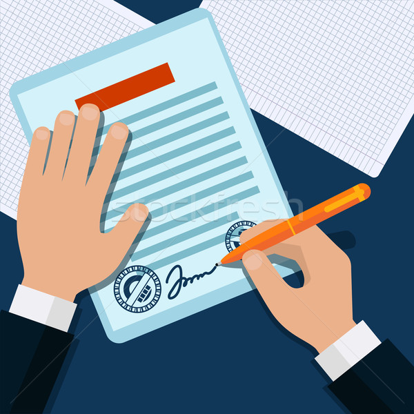 Man signs document stamped handle Stock photo © robuart