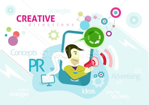 реклама слов pr Creative Сток-фото © robuart