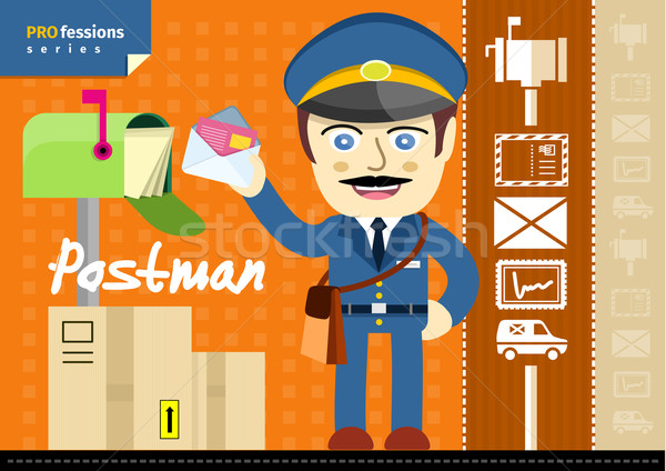 Male postman in uniform with bag holding letter Stock photo © robuart