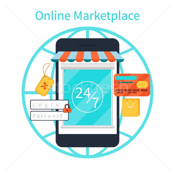 Internetes vásárlás okostelefon vásárol termékek online bolt Stock fotó © robuart