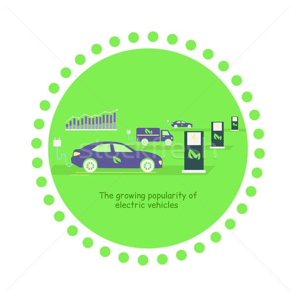 Ikon büyüyen popülerlik elektrik araçlar gelişme Stok fotoğraf © robuart