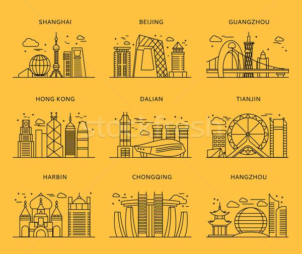иконки китайский стиль Шанхай Китай Сток-фото © robuart