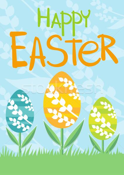 Stock fotó: Szett · brosúra · szórólap · elrendezés · húsvét · kártya