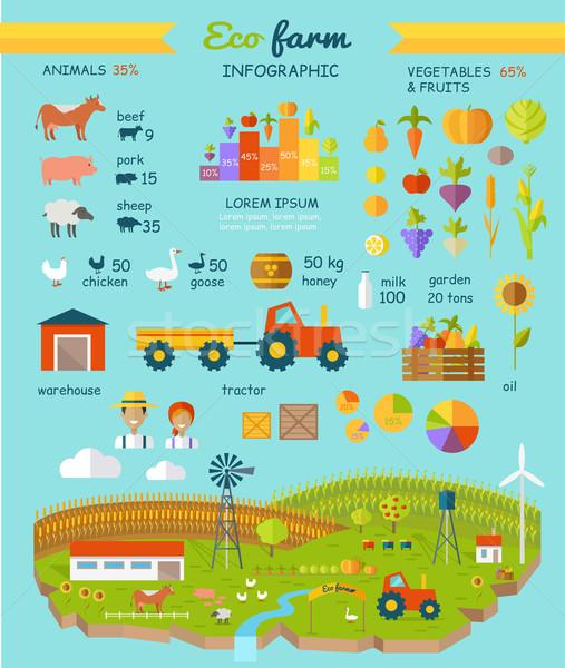 Stok fotoğraf: Eco · çiftlik · elemanları · vektör · dizayn