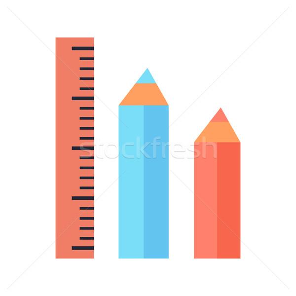 Foto stock: Governante · dois · lápis · ícones · isolado · branco