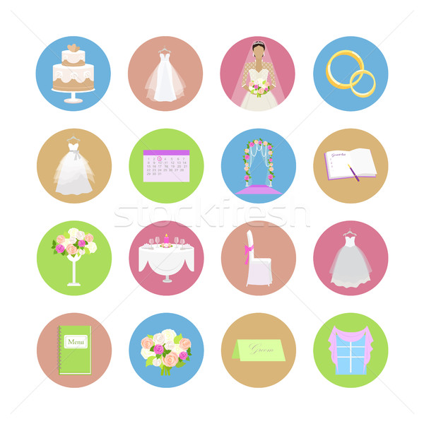 Foto stock: Establecer · boda · vector · iconos · diseno · colección