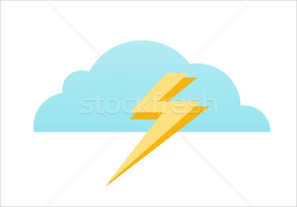 Nuage foudre icône bleu jaune icône nuage Photo stock © robuart