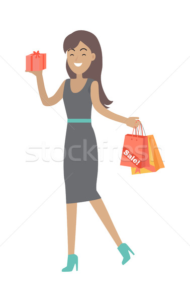 Woman Buys Presents at Discount Price. Vector Stock photo © robuart