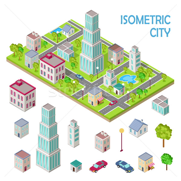 Stock photo: Set of City Buildings in Isometric Projection