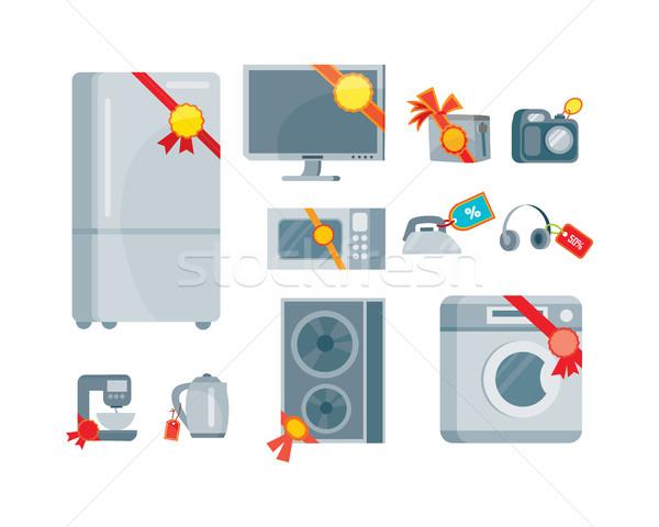 Vásár árengedmény háztartás készülékek piros címkék Stock fotó © robuart