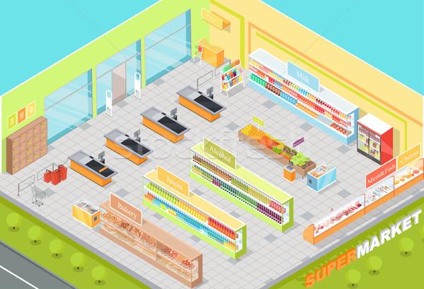 Supermarkt interieur 3D isometrische winkel bakkerij Stockfoto © robuart