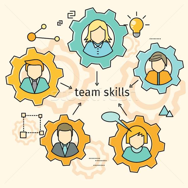 Squadra competenze banner avatar attrezzi team building Foto d'archivio © robuart