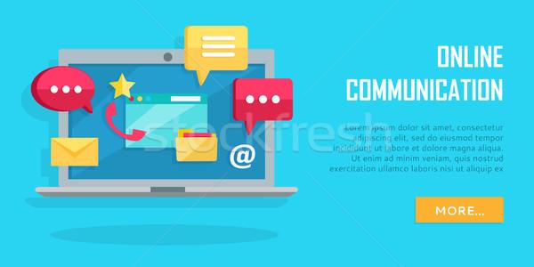 Online Communication Conceptual Banner. Laptop Stock photo © robuart