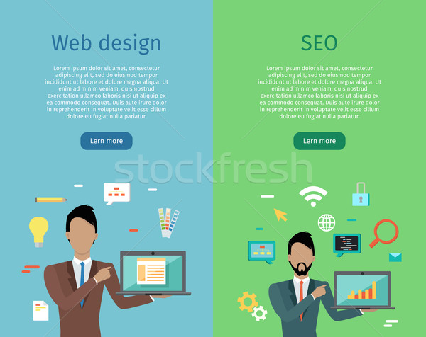 Web design seo infografica set uomo business Foto d'archivio © robuart
