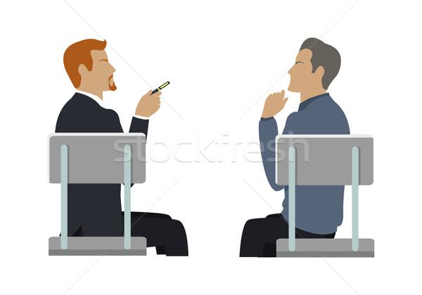 Stockfoto: Zijaanzicht · twee · zakenlieden · vergadering · grijs · stoelen