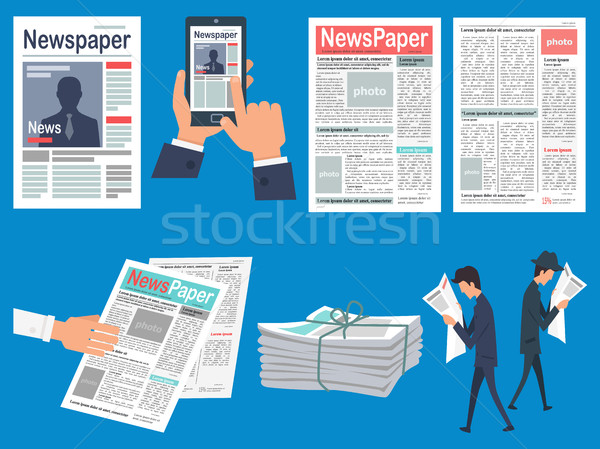 Newspapers Headlines Flat Vector Concepts Set Stock photo © robuart