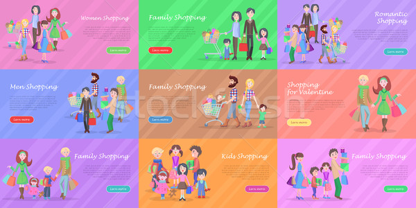 Set of different kinds of shopping in storehouses Stock photo © robuart