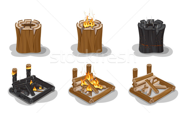 Campfire Set Isolated on White Vector Poster. Stock photo © robuart