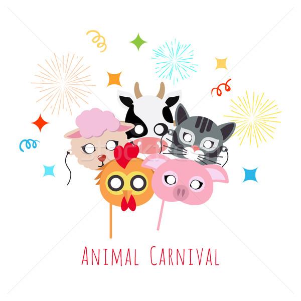 Kinderachtig dier maskers haan varken koe Stockfoto © robuart
