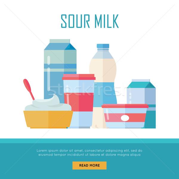 Zestaw tradycyjny kwaśny mleka inny Zdjęcia stock © robuart