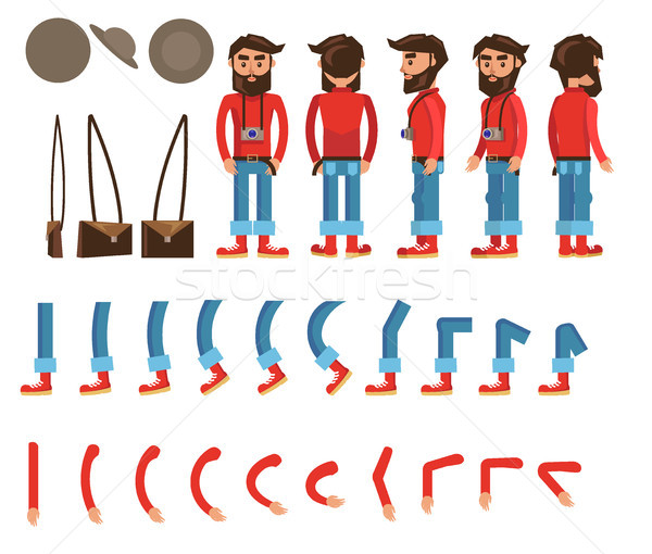 Erkek karakter poster vektör toplama Stok fotoğraf © robuart
