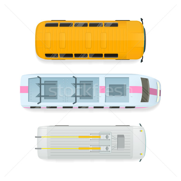 City Transport Top View Flat Vector Illustration Stock photo © robuart