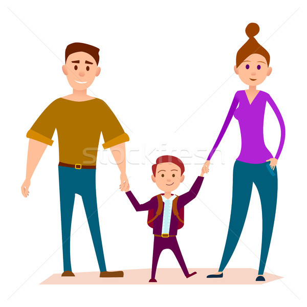 Little Kid Stands with Heavy Daddy and Shapely Mom Stock photo © robuart