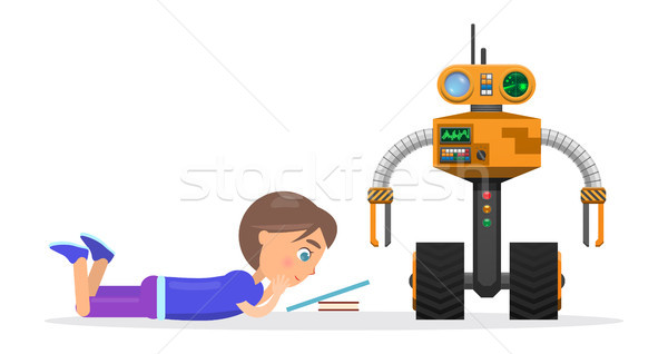 Little Boy Lies and Read Beside Robot Illustration Stock photo © robuart