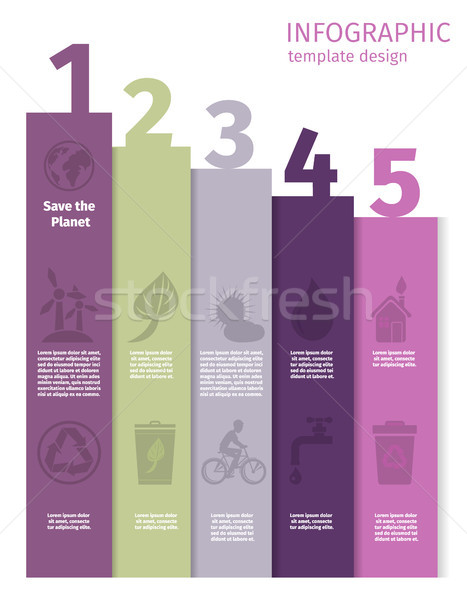 Infographic 5 Steps for Earth Planet Saving Poster Stock photo © robuart